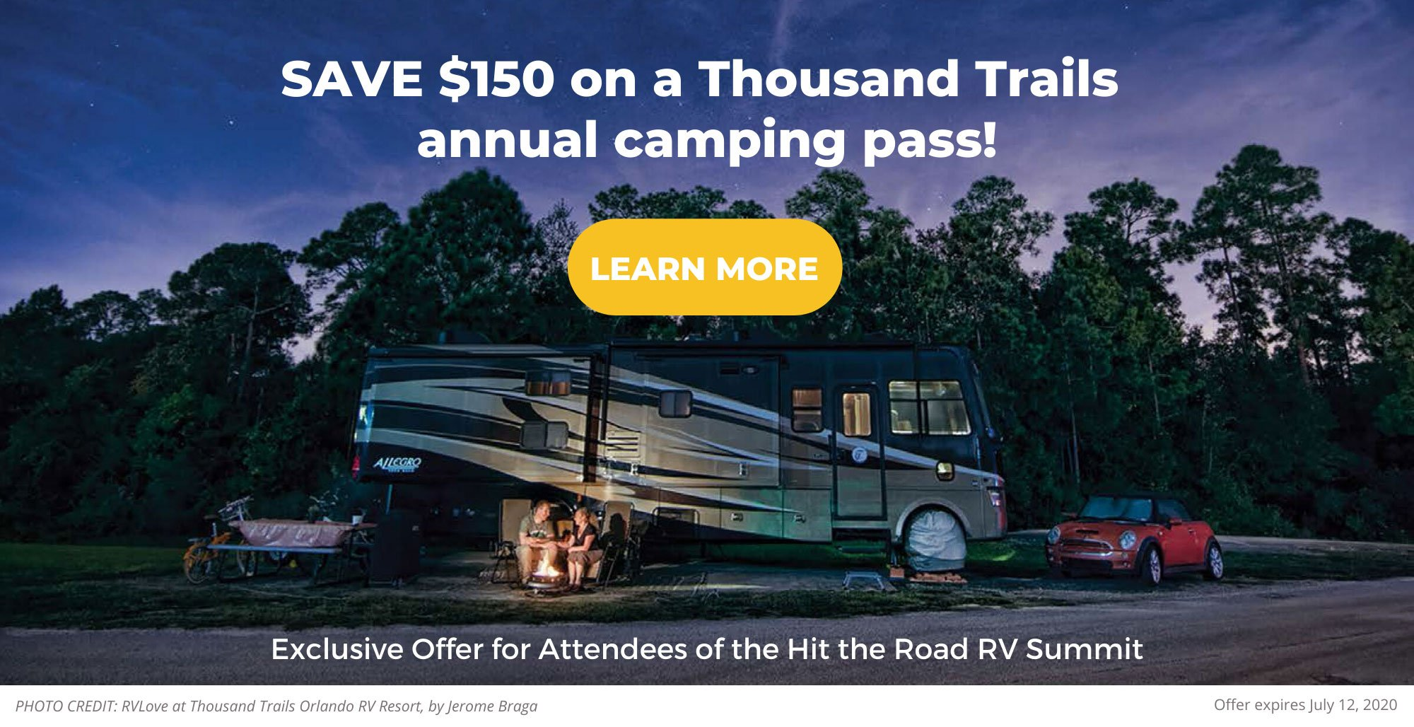 night time shot thousand trails orlando save $150 on thousand trails annual camping pass